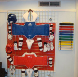 Display of Belts and Sparring Gears